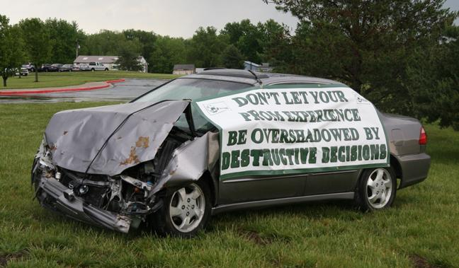 Crashed car sends powerful message to students