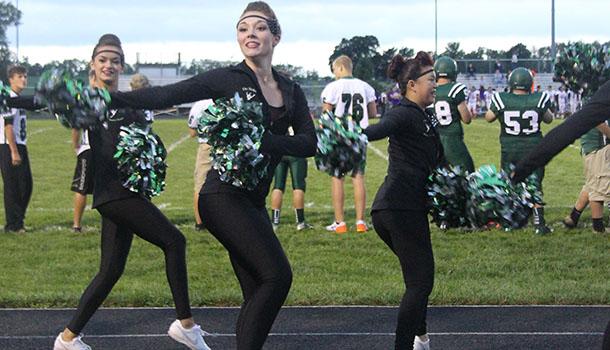 Senior Gabby Stephens dances on Sept. 5 during halftime of the De Soto High School vs. Harmon High School football game.