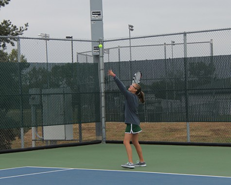Taylor Hansen serves at Regionals.