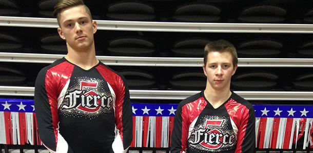 Daric Coffee pictured with teammate Jake Elliott at a local competition.