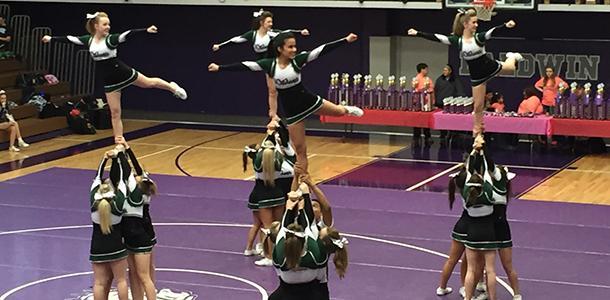 De+Soto+High+School+cheerleaders+perform+at+Baldwin+High+School+on+Feb.+13.