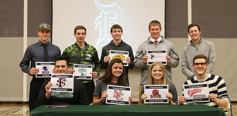 Recently committed student-athletes pose at the event on Feb. 4 during seminar.