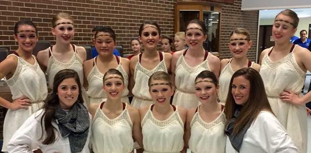 The+Diamonds+Dance+poses+with+coaches+at+the+Miss+Kansas+Dance+Festival+after+competing.