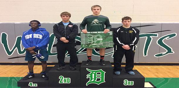 Junior Nate Panagakis being crowned Regional Champion for the 160 lb weight class on Saturday, Feb. 20.