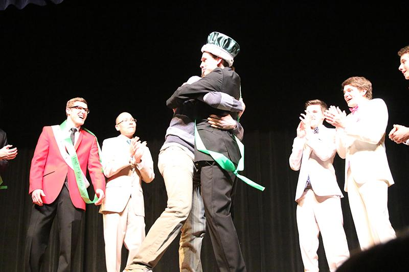 Former+Mr.+Wildcat+Evan+Sullivan+and+current+Mr.+Wildcat+Connor+Strouse+celebrate+Strouse%27s+win+at+the+pageant+on+Feb.+17.+Photo+by+Rex+Templin.+