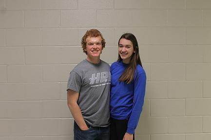 Student Council president Simon Couch and vice president Gabby Mallozzi pose for a photo on May 16.