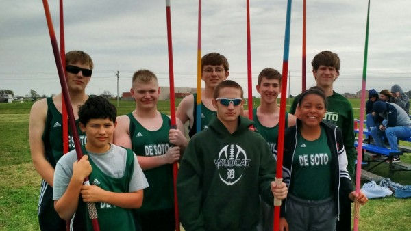DHS javelin track members before warming up at the Eudora meet on April 29.