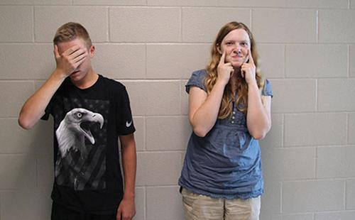 Freshmen Blake Millman and Lauren Mallicoat pose for a picture on Aug. 30.