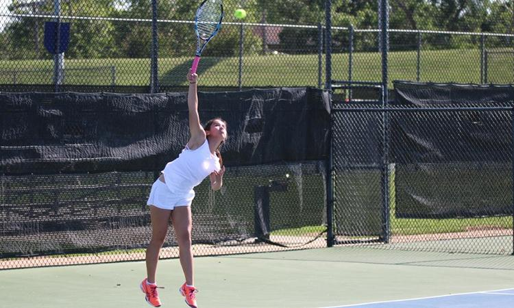 Freshman Issa Sullivan serves the ball during a match at the USTA Missouri Valley Team Championships, which were held in Oklahoma City, May 28-30, 2016.