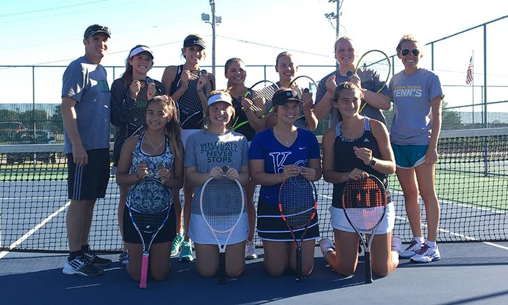 The+De+Soto+High+School+girls%27+tennis+team+pose+for+a+picture+after+claiming+the+Bonner+Springs+Invitational+team+title+on+Sept.+29.