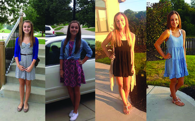 Sydney Hoover poses on her first day of her freshman, sophomore, junior and senior year.