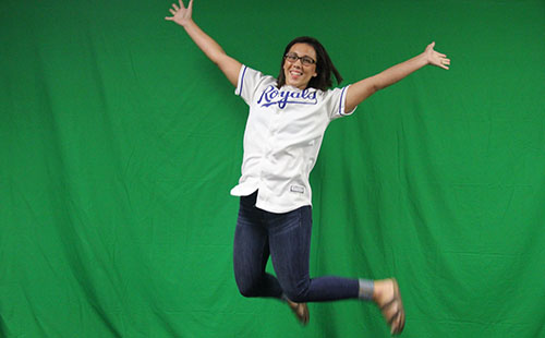 Senior Olivia Shurtleff jumping into her senior year on Sept. 22.