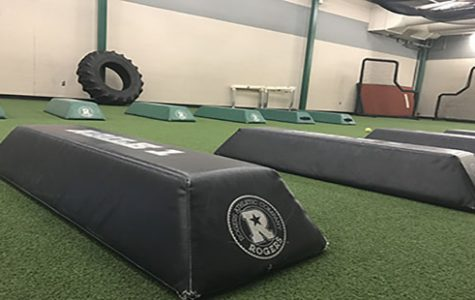 The turf room as it is set up for after school conditioning