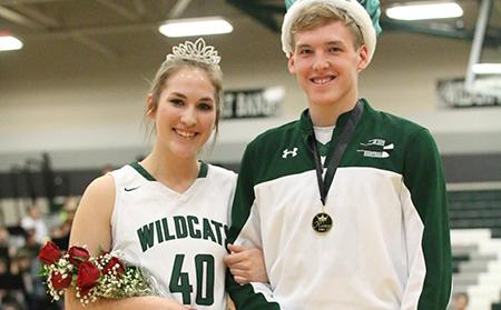 Seniors Jackie Kennard and Noah Wilson are crowned queen and king for the WPA dance at the game on Jan 27.