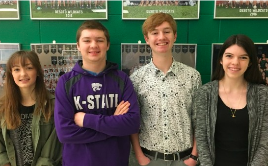 (Left to right) Sophomore Savannah Stine, Senior Trevor Whitlow, junior Zach Yarbrough and senior Carlie Harris pose for a photo at DHS after competing at the State debate tournament on Jan. 27-28.