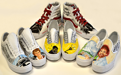All four of the entered shoes, created by senior Emily Euler, juniors Sam McGuire and Carly Newhouse and sophomores Morgan Cravens and Pierce Nunley.