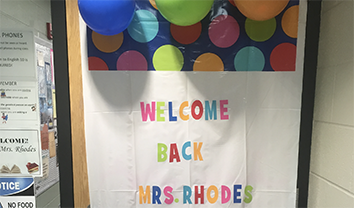 English teacher returns to classes after surgery