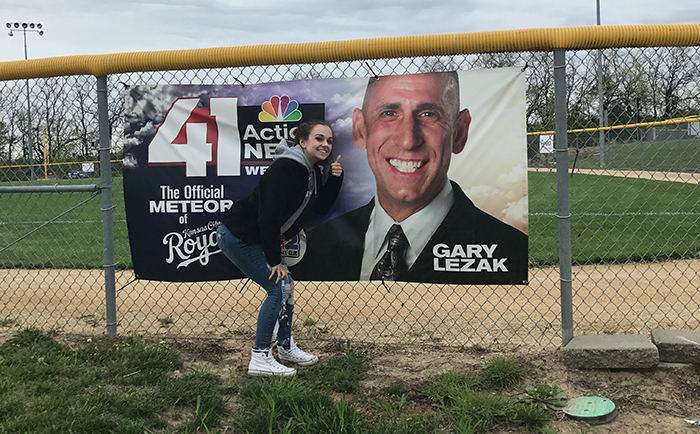 Me, posing with our beloved Gary Lezak at 3&2 baseball fields. The Green Pride staff has deemed ourselves Leaks biggest fans – in all honesty, its just another inside joke,