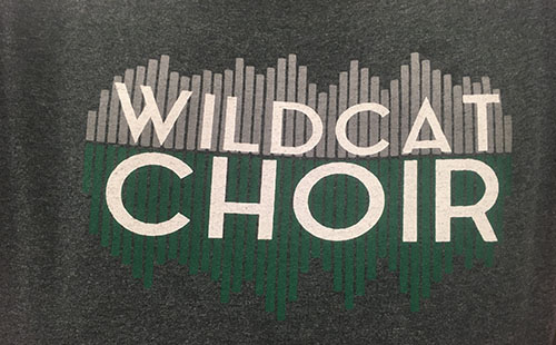 The design of the Wildcat Choir shirt that choir members will be sporting on May 3, the day of the groups last concert.