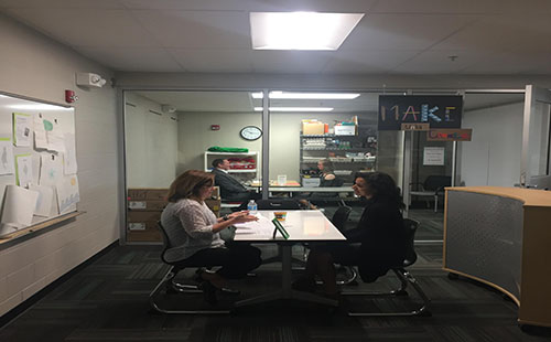 Two students being interviewed for their mock interviews