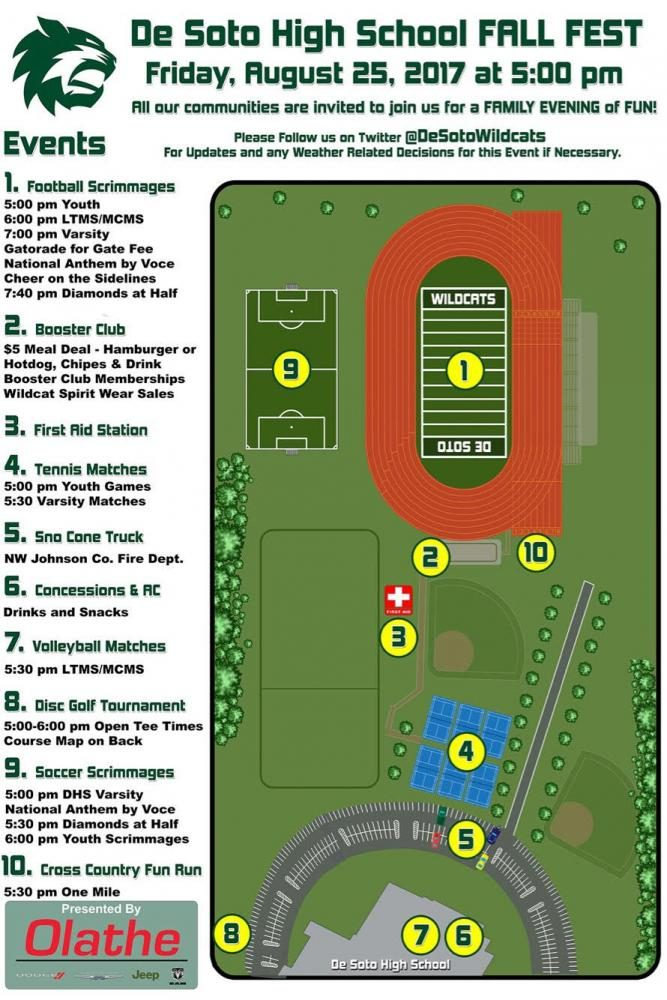 A map and schedule of Fall Fest taking place on Friday Aug 25