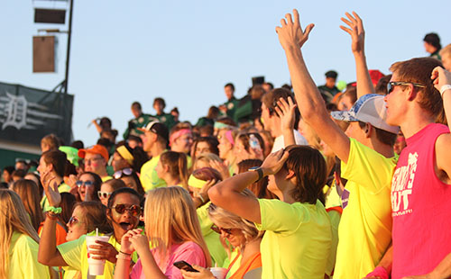 The student section showing tremendous amounts of spirit during a home football game against Bonner Springs on Sept. 8.