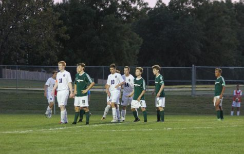 Wildcats set up for a corner kick at the game vs Louisburg on Sept. 12.