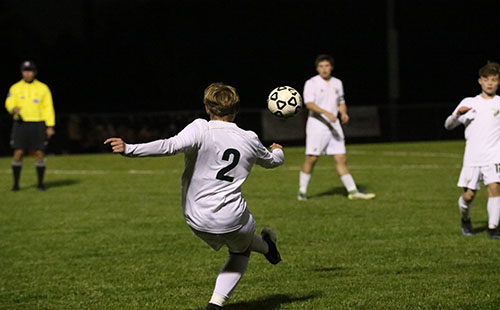 Sophomore Adam Lee takes a free kick on Oct. 24