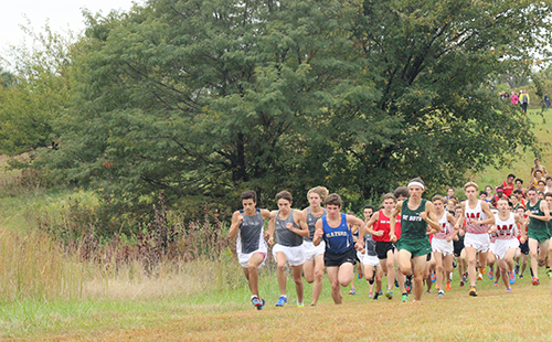 Varsity boys cross country starts off their race on Oct. 4 at Shawnee Mission Park.