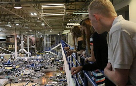 DHS students look out over the floor at t-shirt printing taking place.