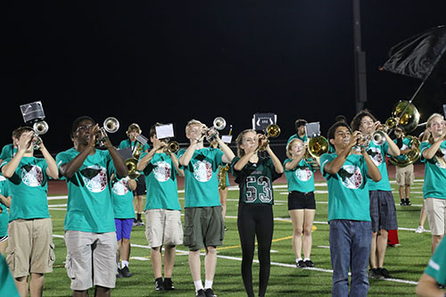 DHS marching band preforms during the homecoming football game halftime show