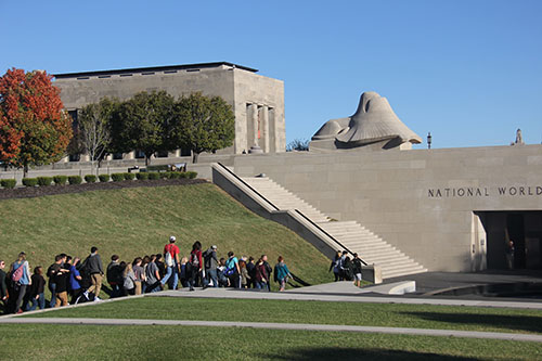 A line of De Soto juniors walk towards the National World War I Museum and Memorial in Kansas City, Missouri on Oct. 26.