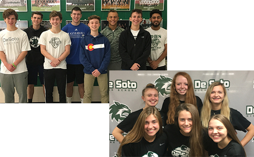 Eight soccer members and six volleyball members pose to celebrate their all-league team acceptance.
