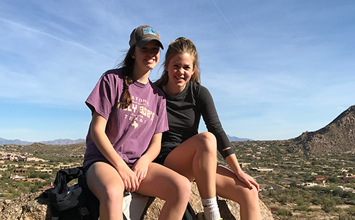 Junior Morgan Laplante (left) poses with her sister, freshman Bailey Laplante (right), on a hike in Arizona.
