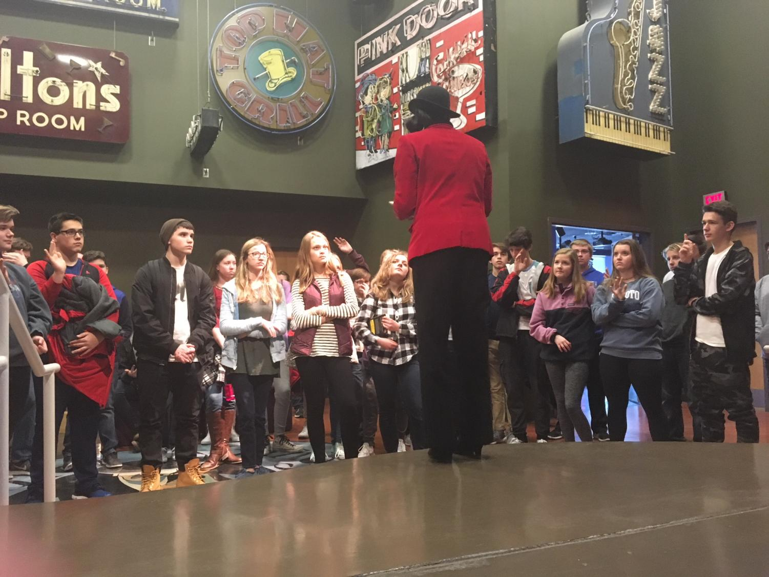 Members of De Soto High School's freshman class listen to a speaker during a field trip to the Negro Leagues Baseball Museum and the American Jazz Museum in downtown Kansas City, Mo., on Jan. 30.