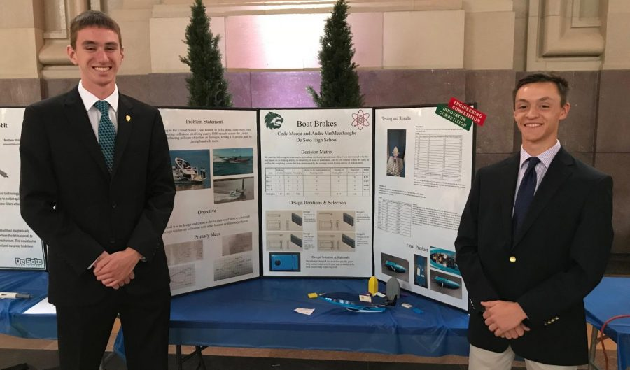 Seniors Andre Vanmeerhaeghe and Cody Moose pose by their presentation of their prototype of Boat Brakes at Union Station on April 25.