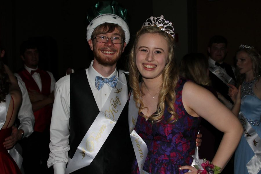 Henry Cahoone and Elizabeth Seidl pose after being crowned prom king and queen on April 28.