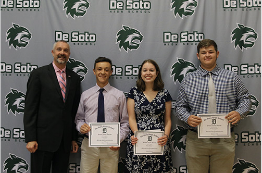 Seniors Cody Moose, Rylie Wilson and Michael Kellner receive the McCarthy Auto Group Scholarship at the senior breakfast on May 18.