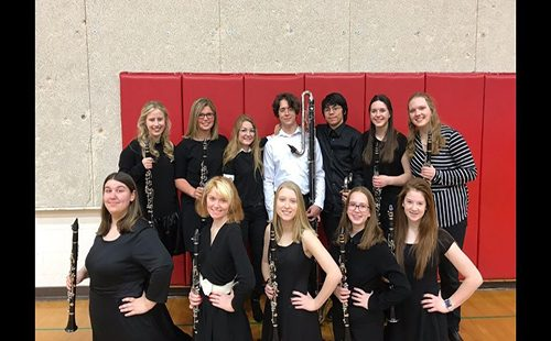 The De Soto clarinet choir poses for a photo at the State Festival on April 28.