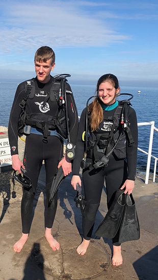 Senior Sydney Selk with her brother at Catalina Island, California, on day three of acquiring her scuba certification on Jan. 4.