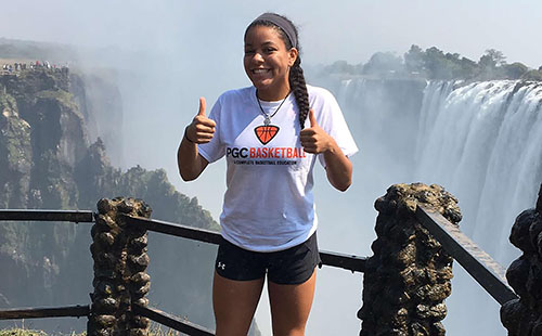 Senior Linnea Searls poses in front of Victoria Falls in Zambia during her summer trip to Africa