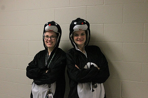 Chemistry teachers Katherine Welzenbach and Laura Sixta pose in their mole costumes on Oct. 23.