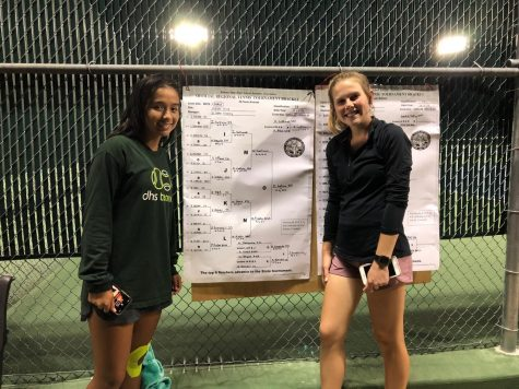 Junior Issa Sullivan and senior Bailey Ramsdell pose in front of the Regional bracket after the two finished play close to midnight on Oct. 5. Both players qualified for the 5A State tournament which will be held at Emporia High School Oct. 12-13.