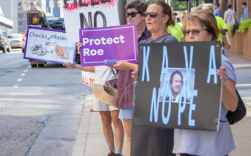 Protesters take to the streets to oppose Justice Kavanaugh on Oct. 5.