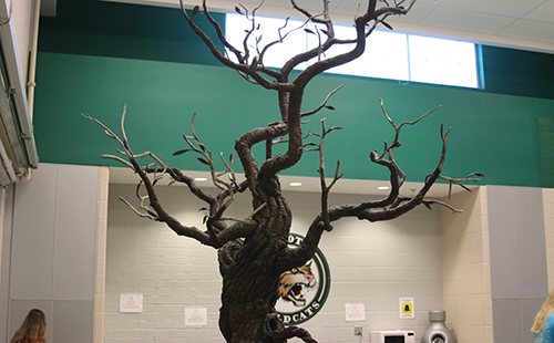 The Tree of Excellence, created by art teacher Tim Mispagel, resides in the Union with the purpose of recognizing outstanding students.