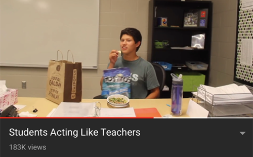 Senior Daniel Smith imitates a teacher in Student Council's viral YouTube video which was published on Sept. 22 2017.