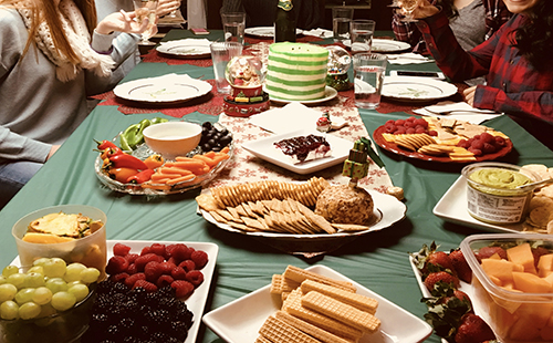 """Junior Lane Hileman's table is set with food for her """"friendsgiving"""" celebration for Thanksgiving, 2017."""