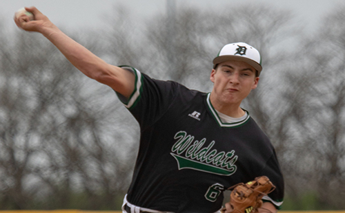 Senior Tyler Barkemeyer pitches at a baseball game during his junior season on April 25, 2018.