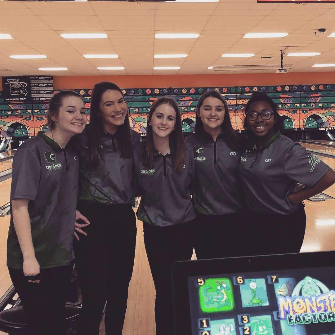 Varsity girls bowling team pose for a picture after a win at Crown Lanes Bowling Alley on Jan. 15.