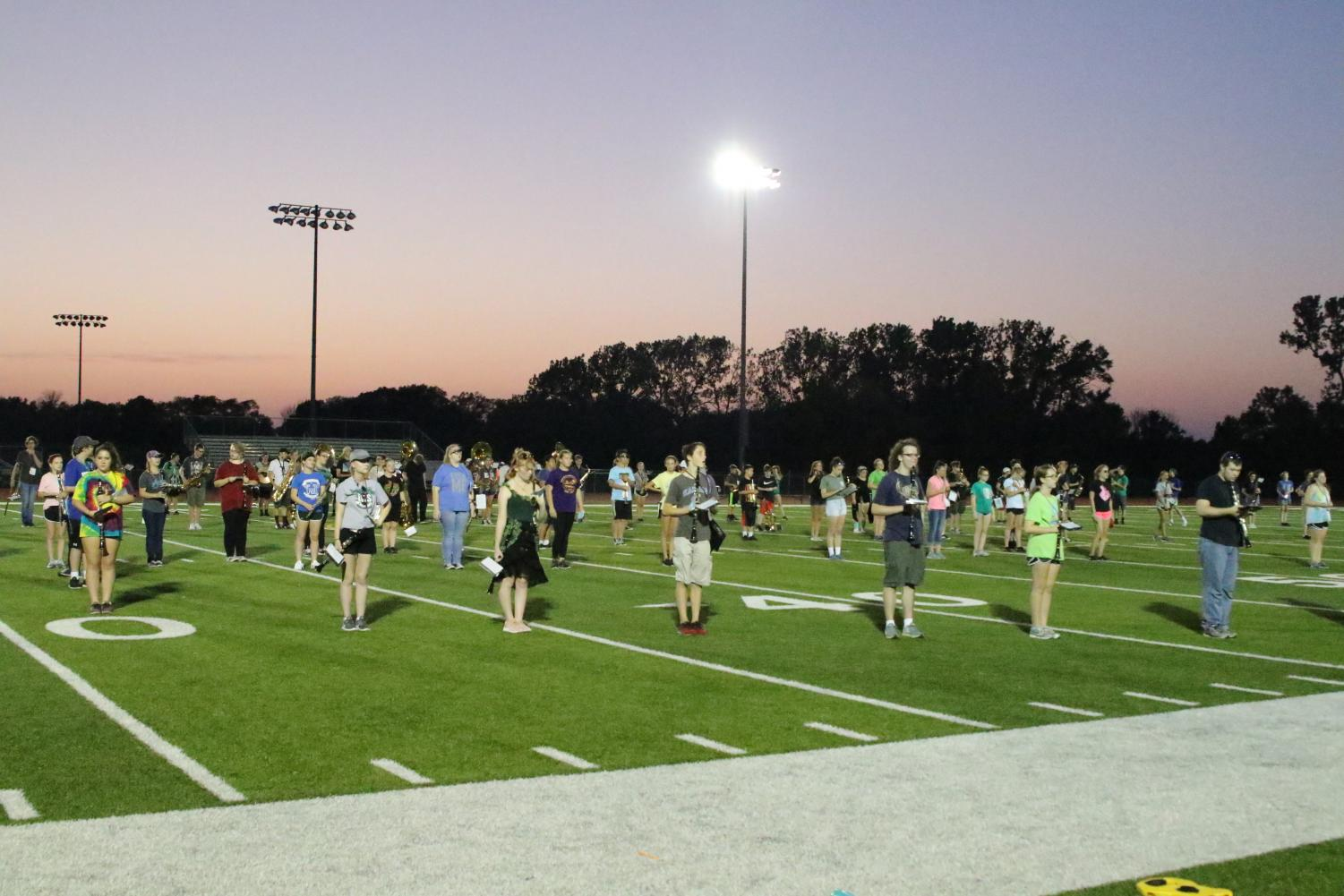 The DHS Marching Wildcats practice their performance on August 27, 2018.